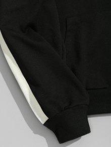 34% RABATT] 2020 Taschen Kontrast Streifen Ärmel Hoodie