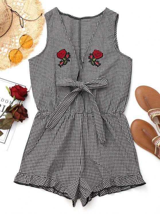 outfit Rose Applique Checked Beach Romper - CHECKED S