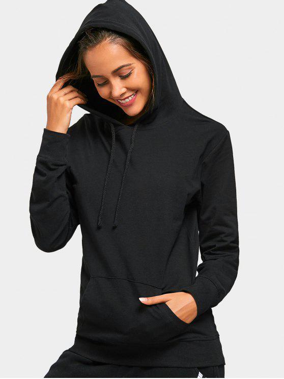 buy Drawstring Kangaroo Pocket Casual Hoodie - BLACK L