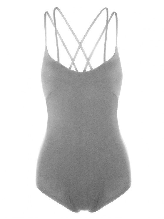 women's Strappy Criss Cross Jersey Bodysuit - GRAY XL