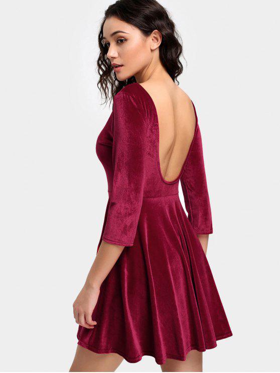 fashion Velvet Backless Skater Dress - RED XL