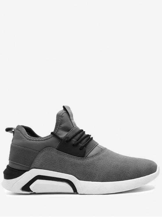 حذاء رياضي من الجلد المدبوغ بأربطة - اللون الرمادي 40