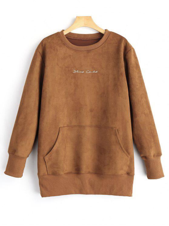 women Graphic Print Suede Sweatshirt - BROWN M