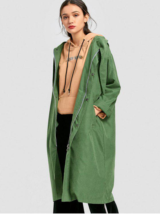 hot Snap-button Hooded Trench Coat - GRASS GREEN L