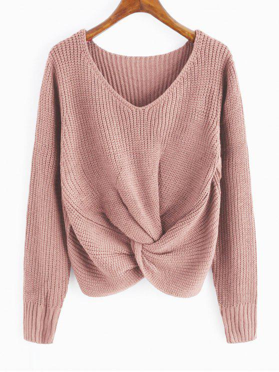 women V Neck Twist Chunky Sweater - PINK ONE SIZE