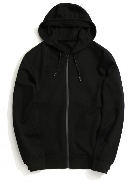 online Hooded Zip Up Coat - BLACK L
