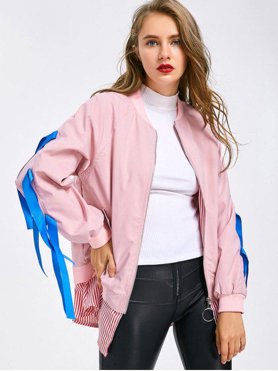 online Crane Appliqued Embellished Striped Zippered Jacket - PINK M
