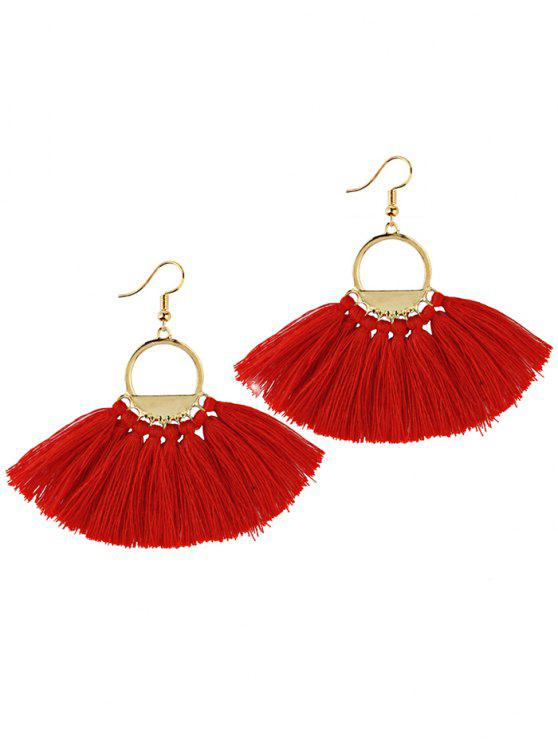 outfits Fan Tassel Embellished Hollow Out Drop Earrings - RED