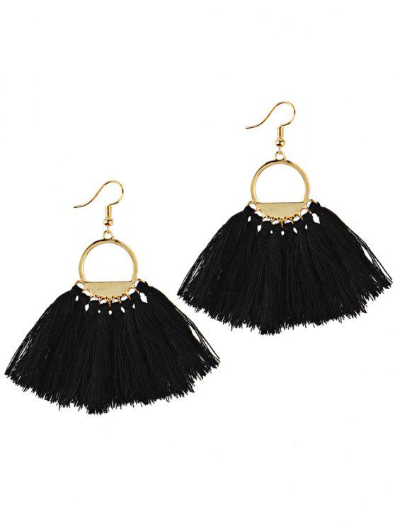 shop Fan Tassel Embellished Hollow Out Drop Earrings - BLACK
