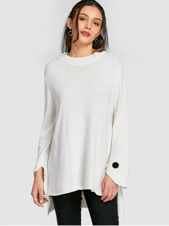 Oversized Crew Neck Tunic Sweater WHITE: Sweaters S | ZAFUL