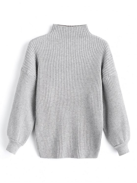 women's Pullover Lantern Sleeve High Neck Sweater - GRAY ONE SIZE