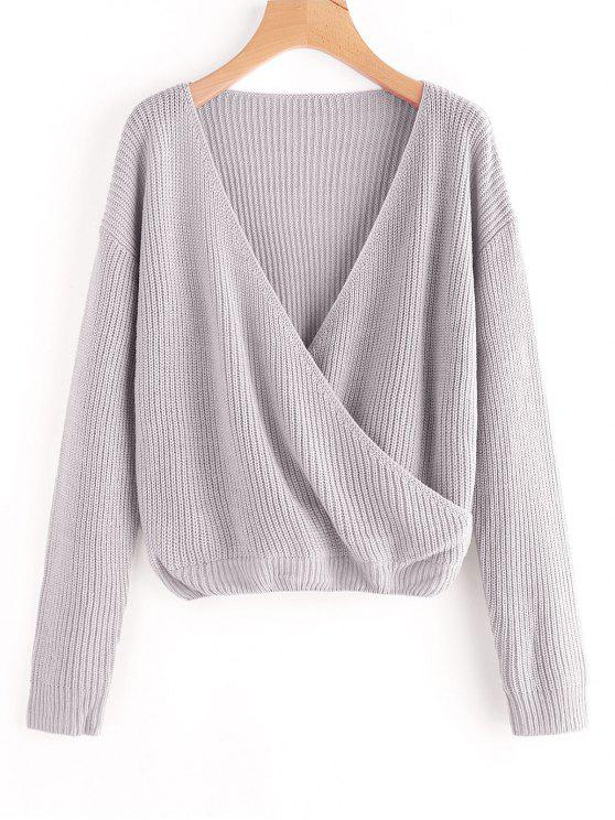 shops Crossed Front Pullover V Neck Sweater - GRAY ONE SIZE