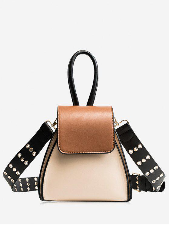 outfit Contrasting Color Rivets Crossbody Bag - BEIGE
