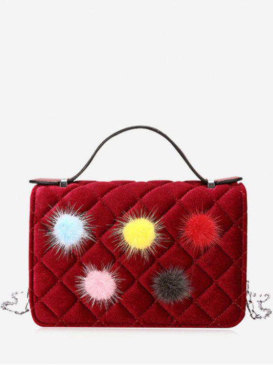 trendy Pompom Quilted Chain Crossbody Bag - RED