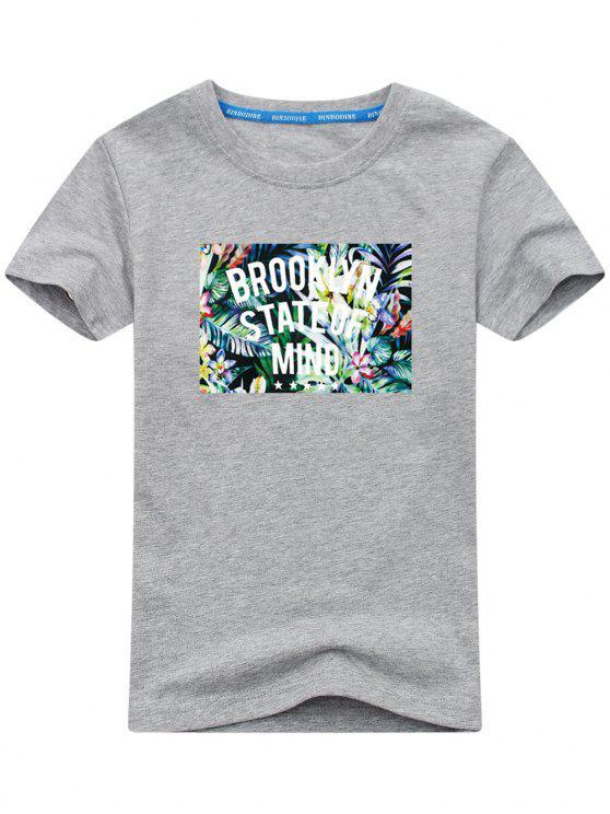 affordable Tropical Print Short Sleeve T-shirt - GRAY L