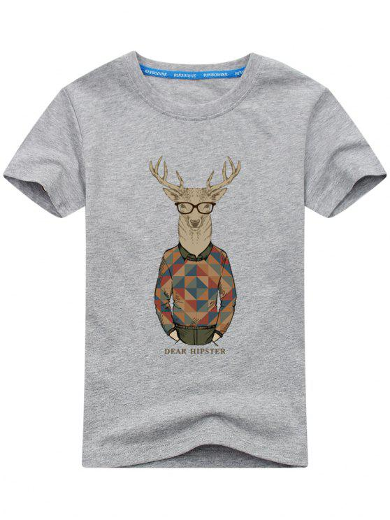T-shirt Imprimé Wapiti Cartoon - gris 2XL