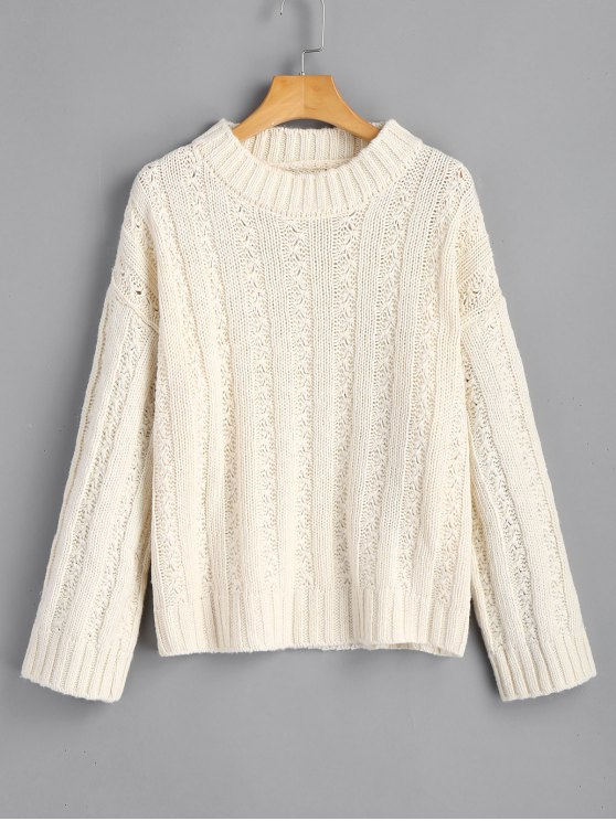 Loose Jacquard Pullover Sweater OFF-WHITE: Sweaters ONE SIZE | ZAFUL