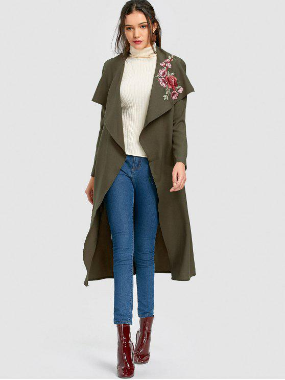 trendy Wrapped Flower Applique Trench Coat - ARMY GREEN S