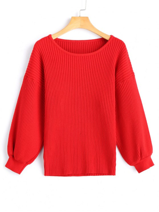 Drop Shoulder Ribbed Pullover Sweater RED: Sweaters ONE SIZE | ZAFUL