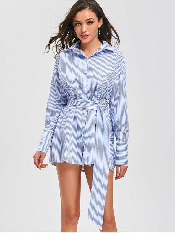 lady Belted Button Up Long Stripes Shirt - STRIPE S