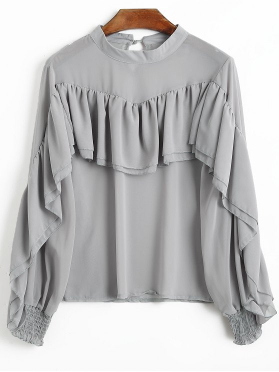 women's Chiffon Ruffle Long Sleeve Top - GRAY S