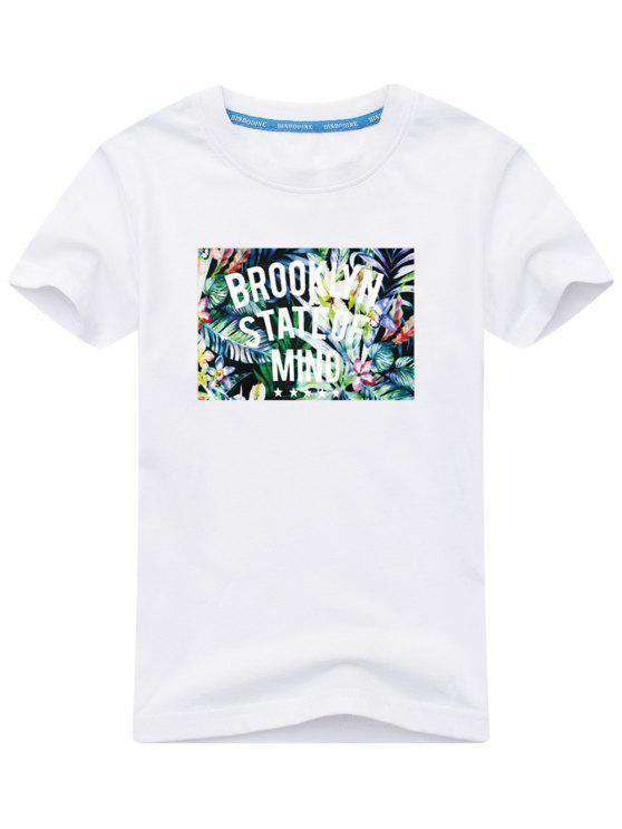 T-shirt Imprimé Feuilles Tropicales et Message - Blanc 5XL
