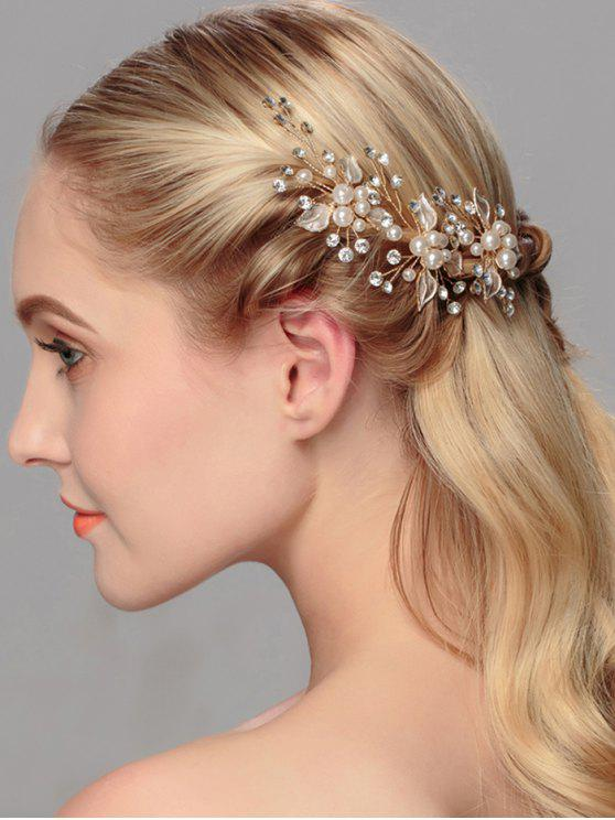 Rhinestone Faux Pearl Leaf Wedding Hairpin - Dourado