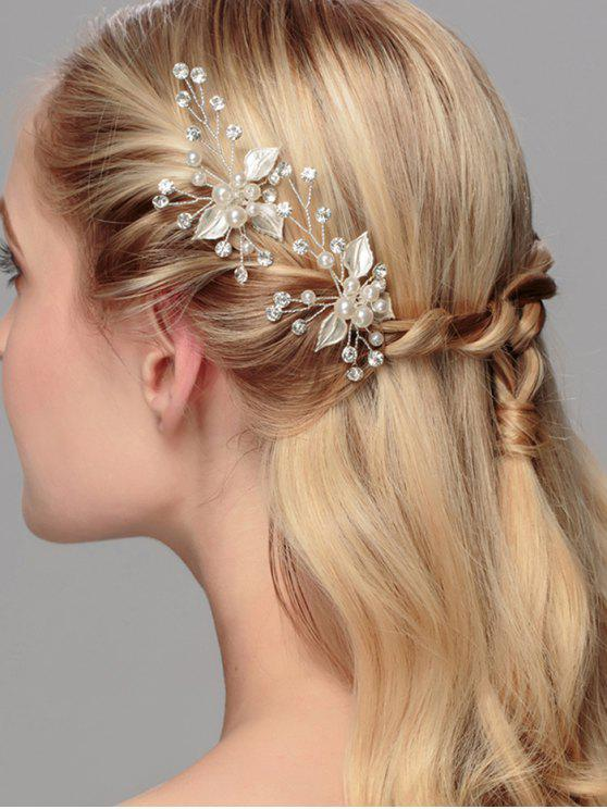 Rhinestone Faux Pearl Leaf Wedding Hairpin - Prateado