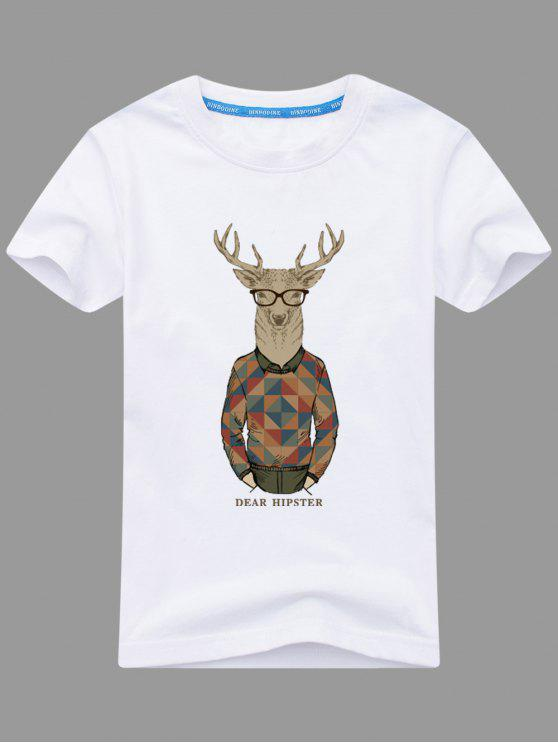 T-shirt Imprimé Wapiti Cartoon - Blanc 3XL
