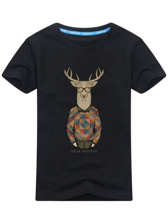 shops Short Sleeve Cartoon Print T-shirt - BLACK 2XL