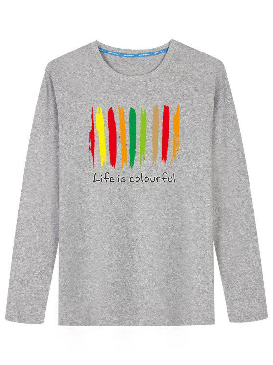 Camiseta estampada colorida con estampado colorido - Gris L