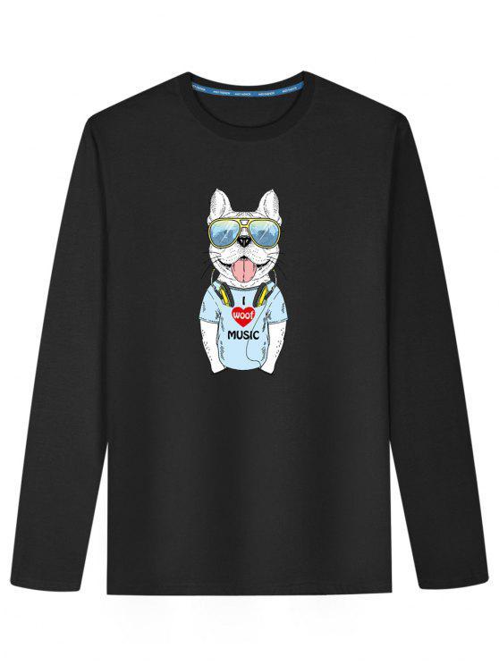 تي شيرت طويلة الأكمام طباعة الكلب - أسود L
