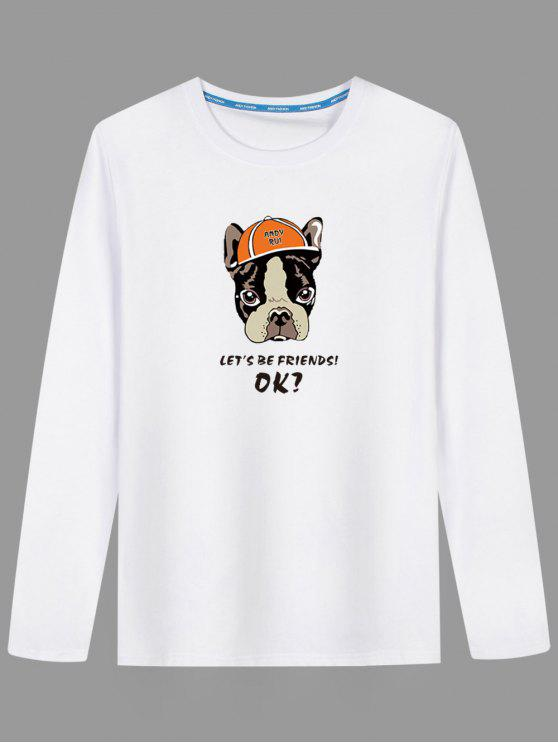 T-shirt à Motif Chien Cartoon - Blanc 3XL