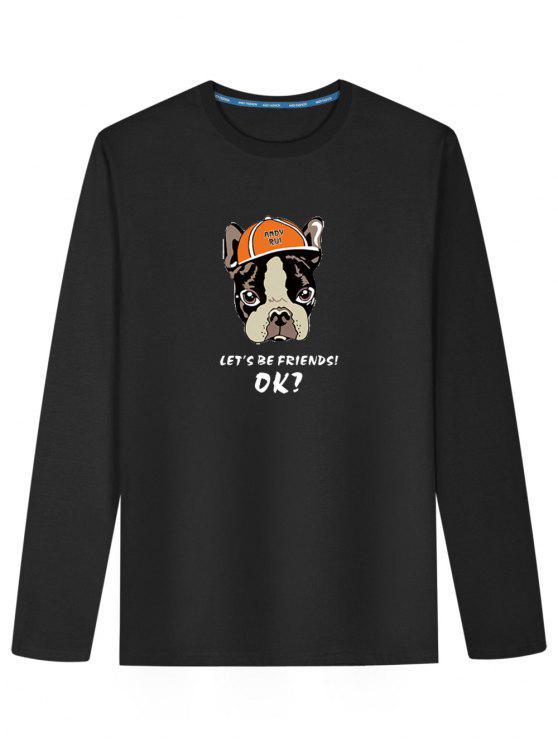 616bf26c3 T-shirt de manga comprida de cachorro de desenhos animados - Preto XL