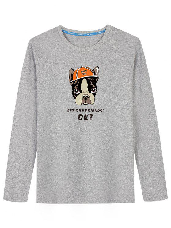 T-shirt de manga comprida de cachorro de desenhos animados - Cinza 2XL