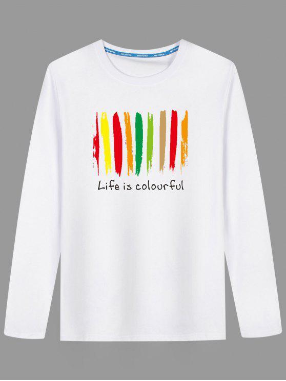 تي شيرت طويلة الأكمام طباعة ملونة مرسوم - أبيض L