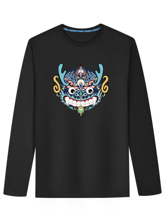 T-shirt de manga comprida chinesa com cabeça de dragão - Preto L