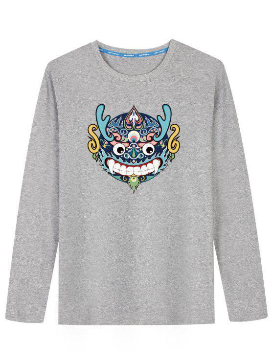 Chinesisches Drache-Kopf-langes Hülsen-T-Shirt - Grau 2XL