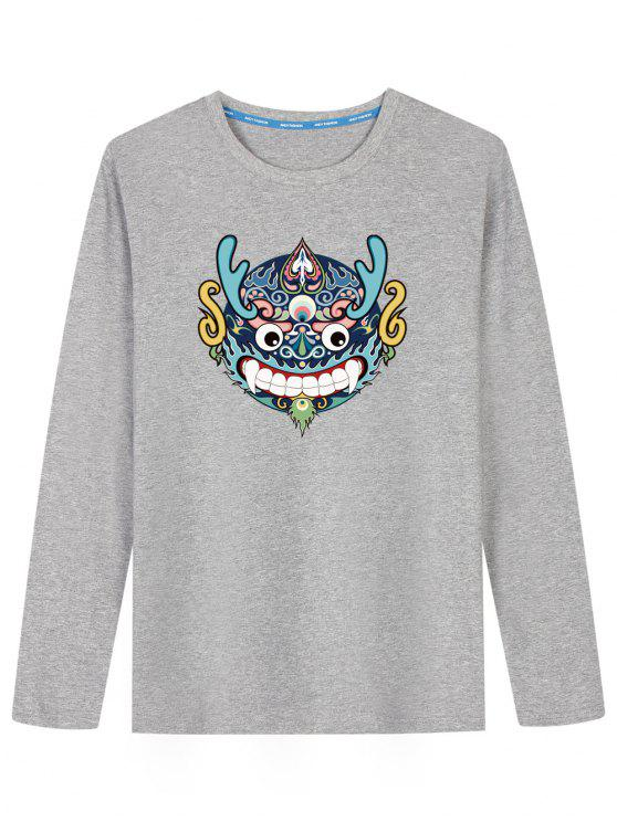 Chinesisches Drache-Kopf-langes Hülsen-T-Shirt - Grau XL