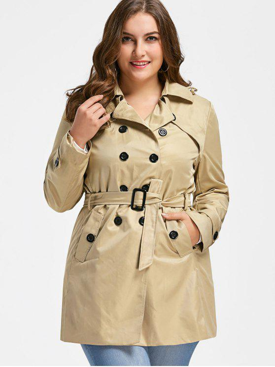 online Plus Size Trench Coat - LIGHT KHAKI 2XL