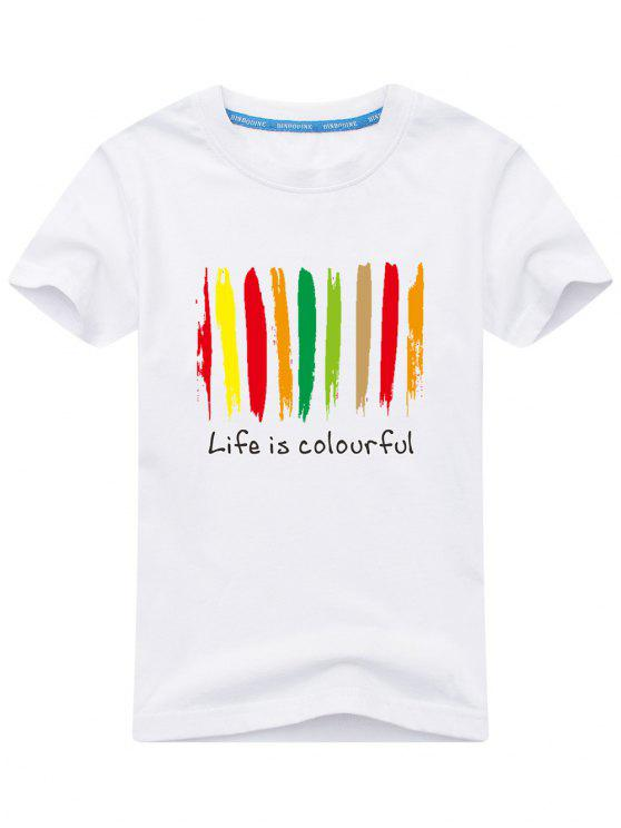 lady Colorful Print Short Sleeve T-shirt - WHITE XL