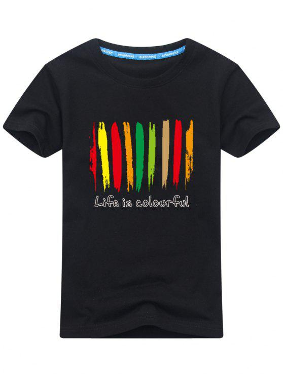 T-shirt maniche corte colorate di stampa - Nero XL