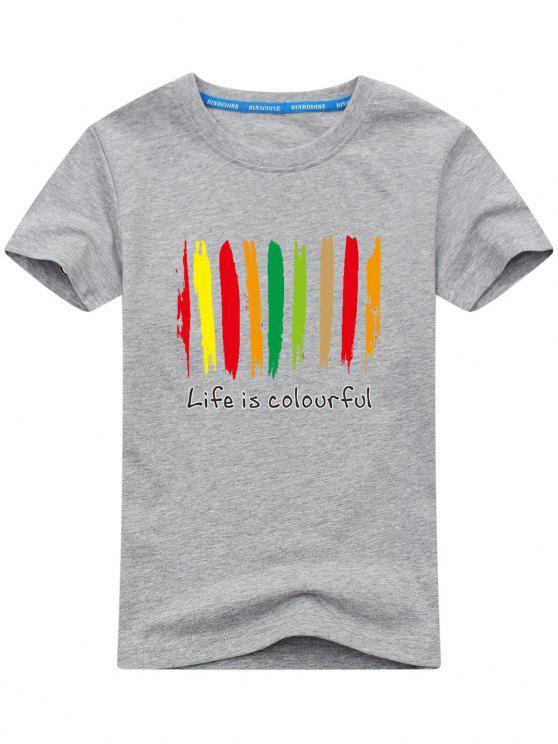 T-shirt Homme Imprimé Coloré - Gris L