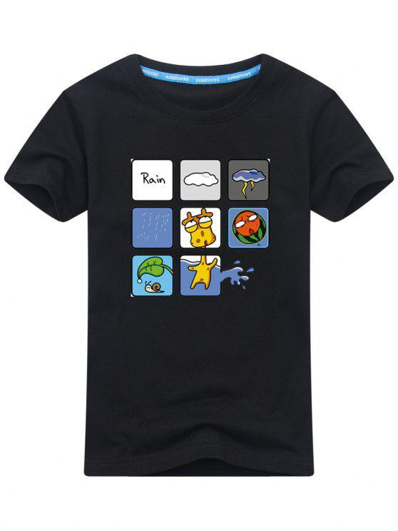 Kurzarm Regnerisches Druck T-Shirt - Schwarz XL
