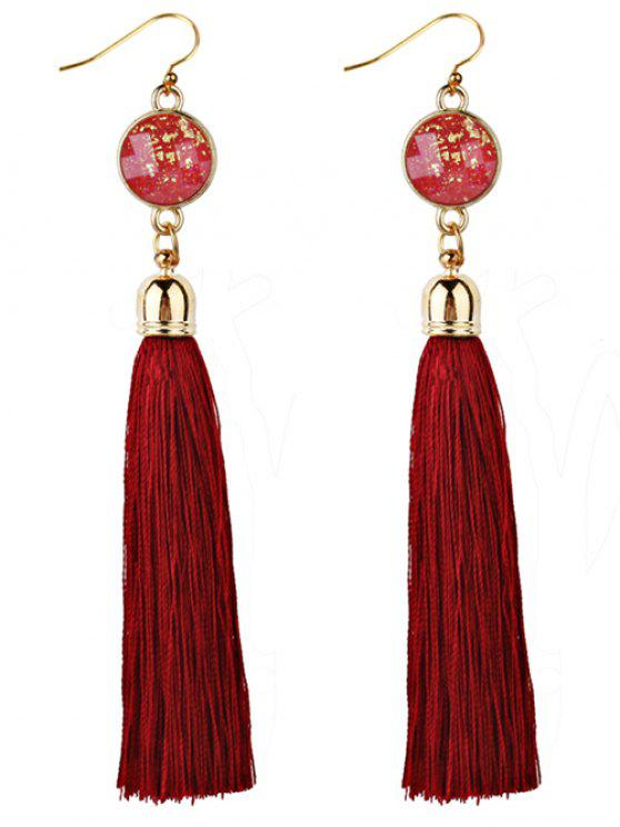 online Vintage Boho Style Long Tassel Drop Earrings - RED