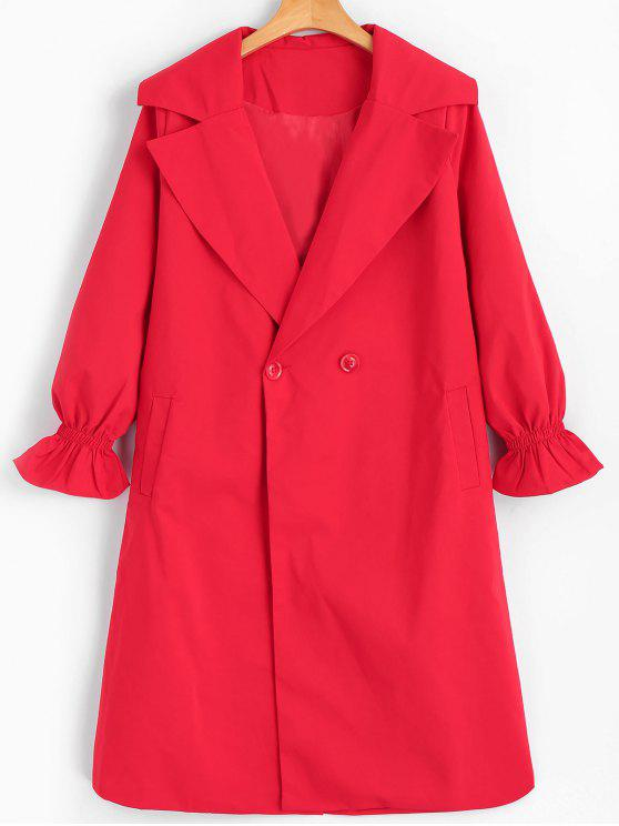 new Long Lantern Sleeve Trench Coat - RED 2XL