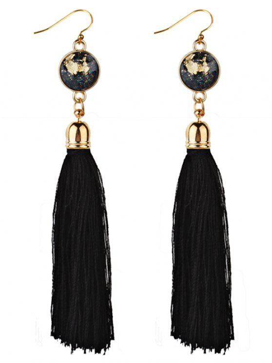 shop Vintage Boho Style Long Tassel Drop Earrings - BLACK