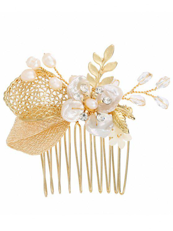Faux Pearl Leaf Flower Wedding Hair Comb - Dourado