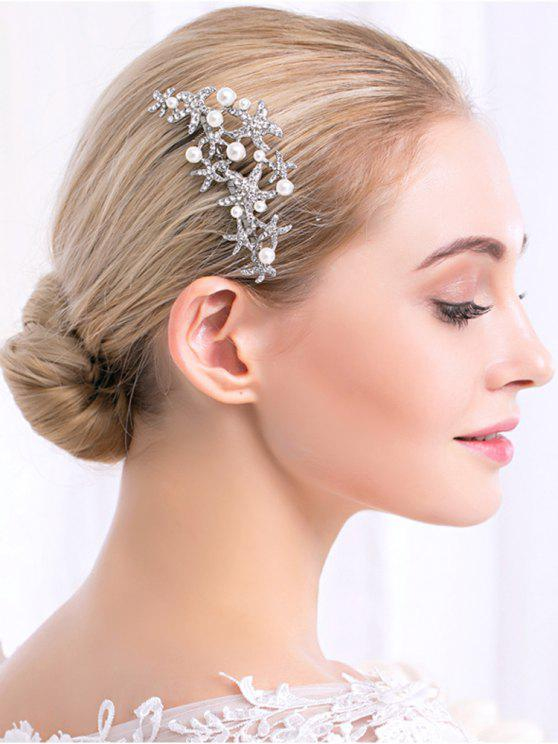 best Rhinestone Faux Pearl Starfish Wedding Hair Comb - WHITE