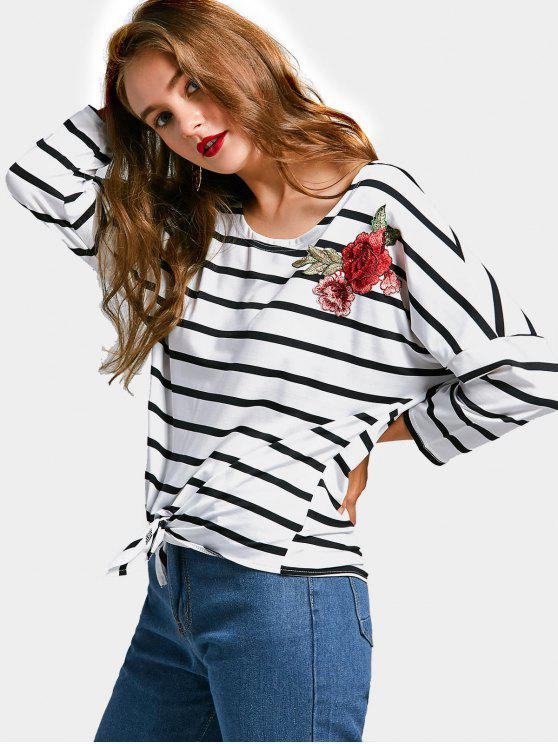 outfit Flower Appliques Striped Self Tie Hem Tee - STRIPE S